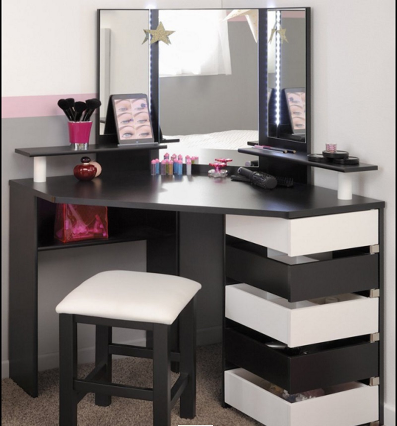 15 elegant corner dressing table design ideas for small for Table design ideas