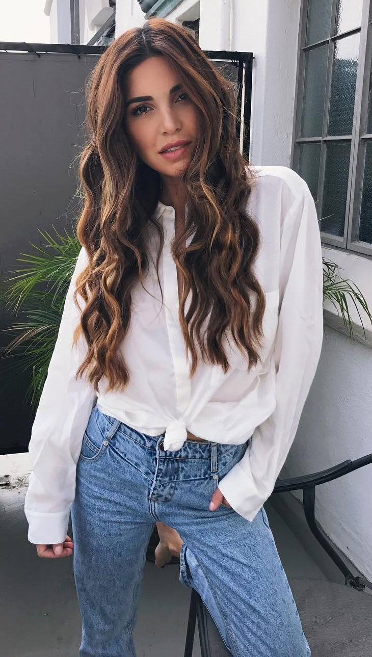 white shirt + jeans