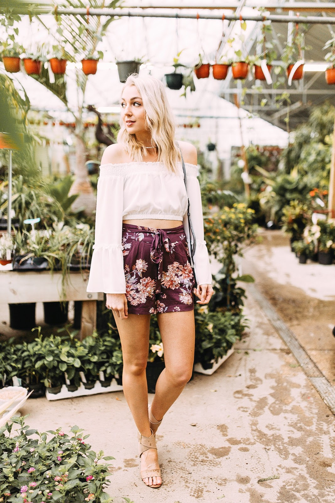 cute floral shorts with an off-the-shoulder crop top