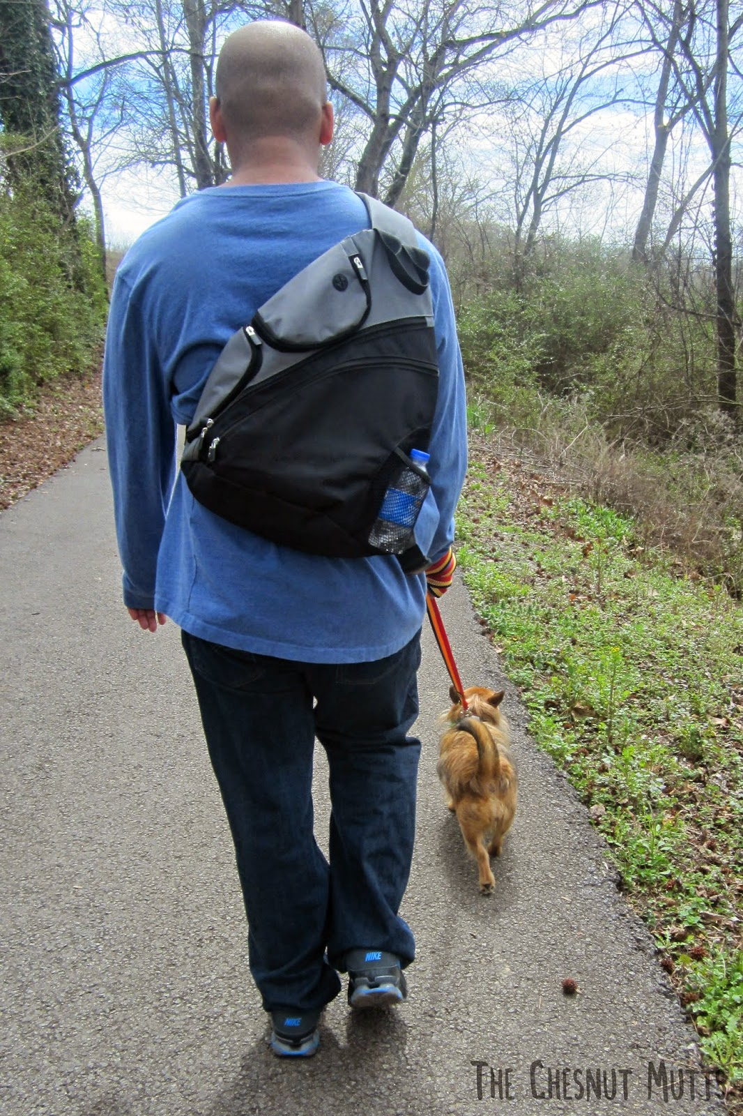 Johnny walking Jada with the reflective dog leash