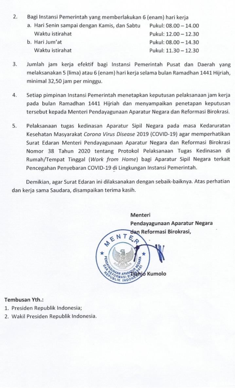 Penetapan Jam Kerja pada Bulan Ramadhan 1441 H, bagi ASN di Lingkungan Instansi Pemerintah