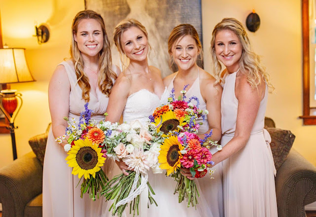 beige bridesmaid dresses with sunflowers