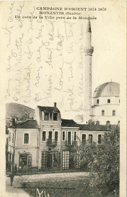 Isac mosque with the shops along the river Dragor in 1918. Published by H.Grimaud et Cie, Marseille