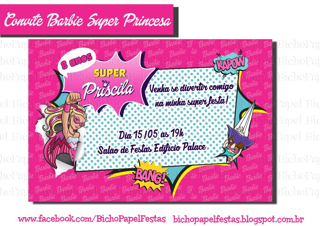 Convite Da Barbie Para Imprimir