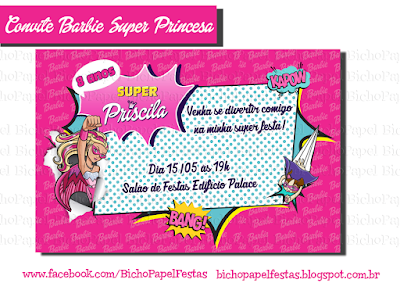 convite barbie super princesa