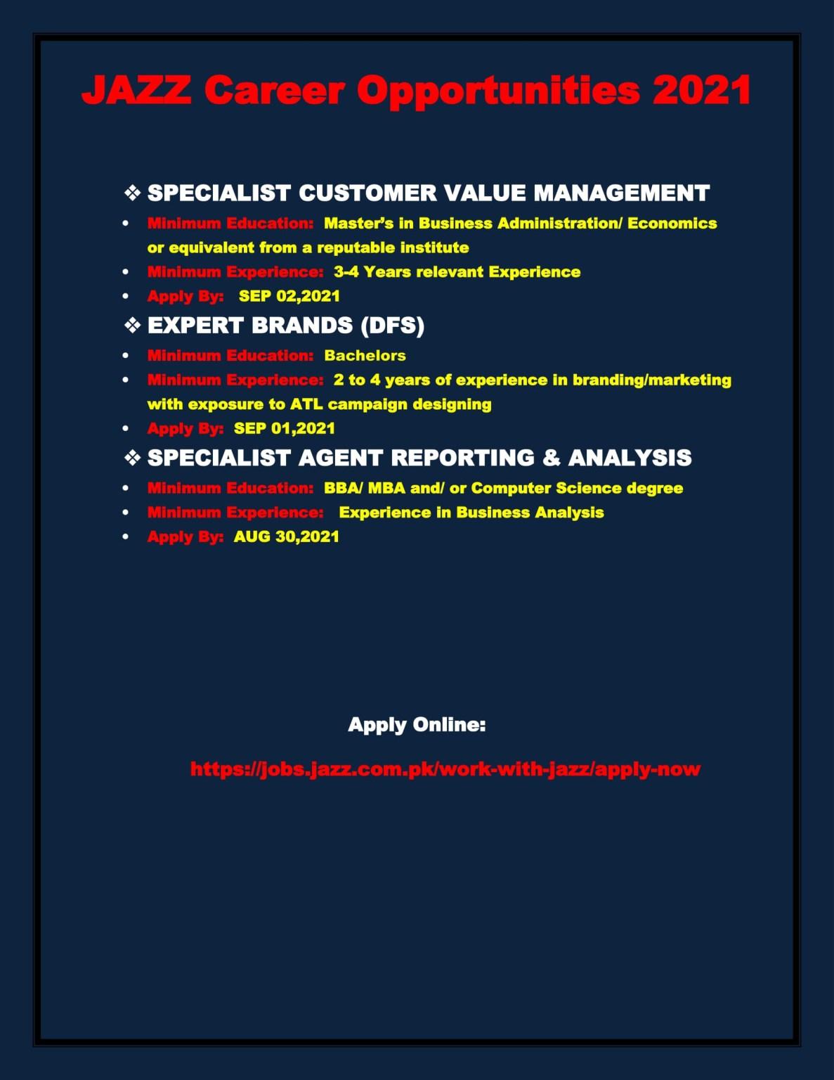 Jazz Jobs 2021 Latest Recruitment – Apply via jobs.jazz.com.pk