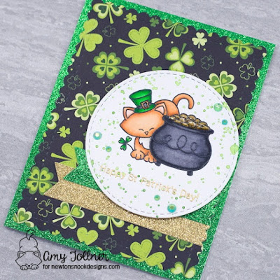 Inky Paws Challenge Sketch Challenge - Newton's Pot of Gold stamp set, Circle Frames die set, Frames and Flags die set by Newton's Nook Designs #newtonsnook #handmade