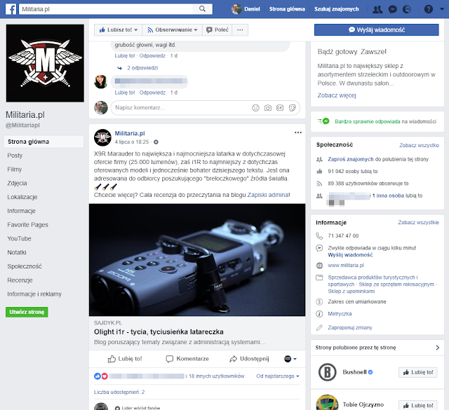 Informacja na profilu Militaria.pl dot. recenzji latarki Olight i1r
