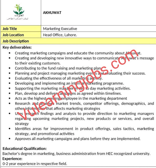 Akhuwat Jobs 2020 In Pakistan For Marketing Executive Latest