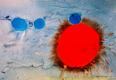 Spitting Sun: Ink on paperboard: Abstract Expressionism  Art: Miabo Enyadike