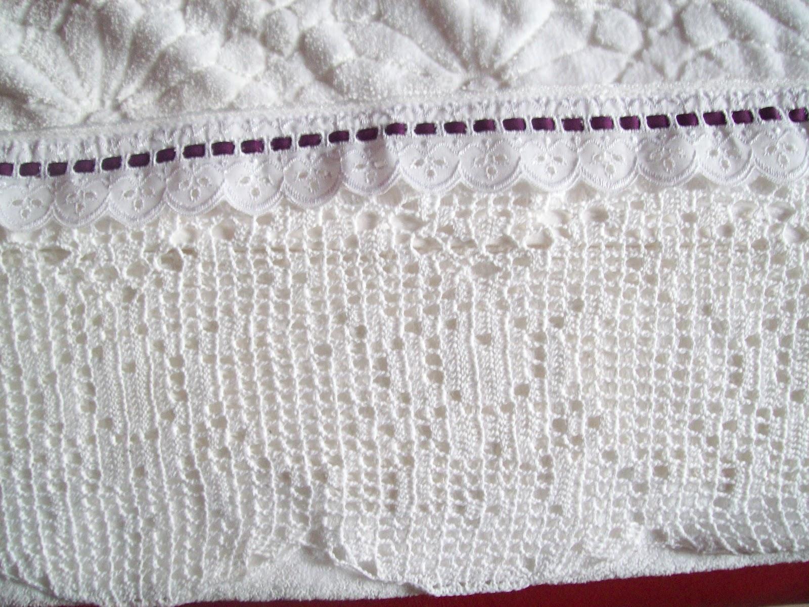 Puntos y retazos juego de toallas con puntilla en crochet - Puntillas para cortinas ...