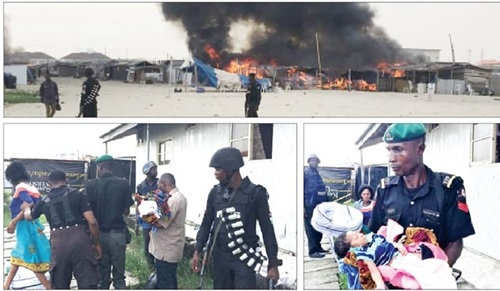10 Kids Feared Drowned, 200 Structures Burnt Down as Yoruba & Egun Youths Clash in Lekki, Lagos (Photos)