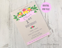Floral first birthday invitation roses boho