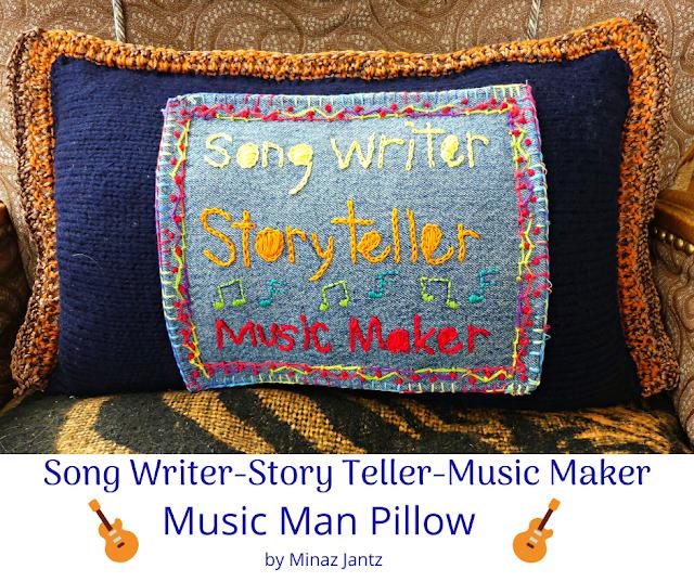 Song Writer, Story Teller, Music Maker, pillow by Minaz Jantz