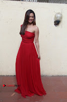 Actress Sana Khan Latest Pos in Georgius Spicy Red Long Dress at the Interview  0009.jpg