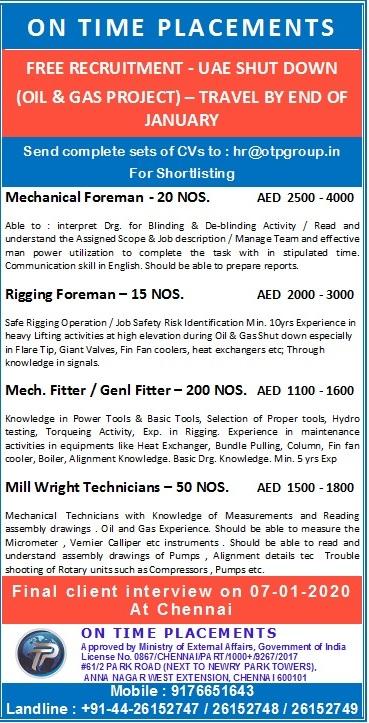 On Time Placements, UAE Jobs, Oil & Gas Jobs, Shutdown Jobs, Chennai Interviews, Mechanical Foreman, Rigging Foreman, Mechanical Fitter, General Fitter, Millwright Technician, Anna Nagar, Chennai