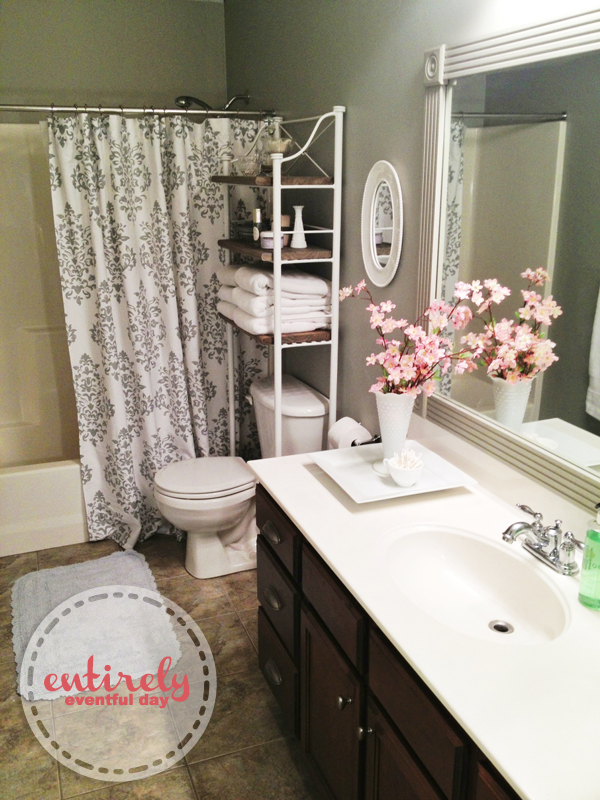 Beautiful Diy Bathroom Makeover I Love The Gray She Painted A Silver Stripe At