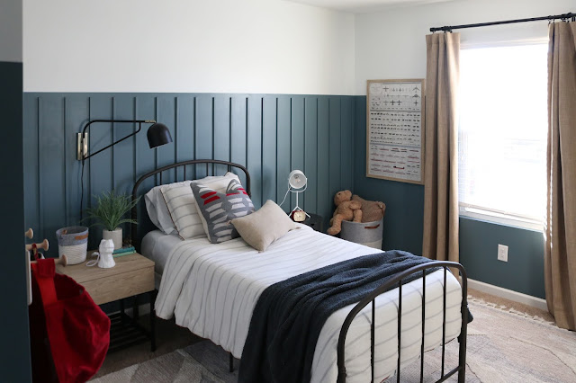 A modern take on red, white, and blue- check out this classic  modern boys room makeover!