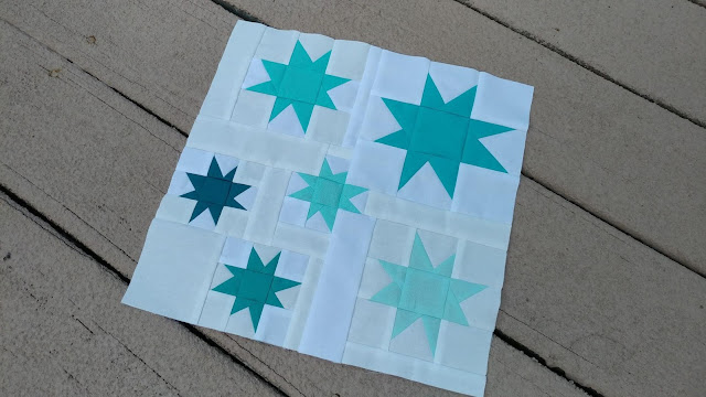 Wonky stars quilt block for QAL By the Sea