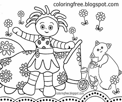 Playgroups cartoon daisy flower scenery in the night garden colouring picture beginner easy drawings