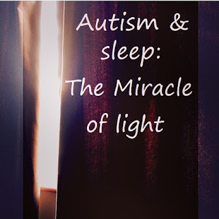 Autism child and a bright light through a curtain