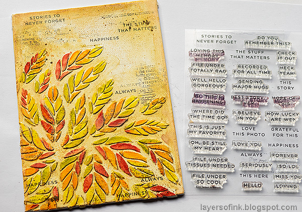 Layers of ink - Tumbling Leaves Canvas Tutorial by Anna-Karin Evaldsson. Stamp the background.