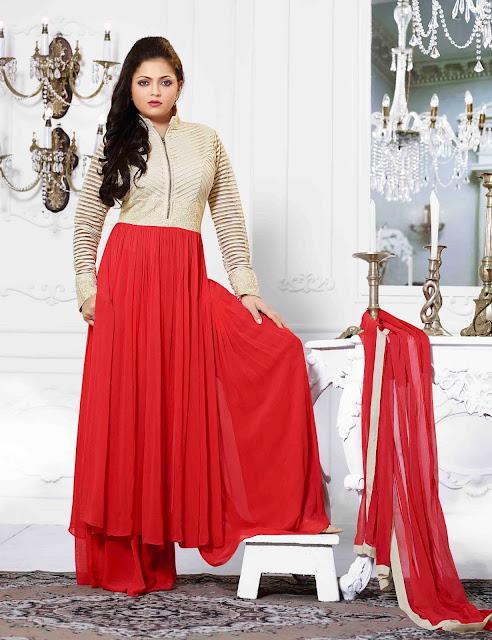 Red Georgette Abaya Style Salwar Kameez With A Chiffon Dupatta