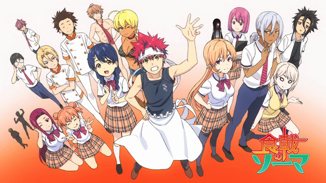 Chefs in their uniform about to fight in a kitchen war with cute anime girls in their school uniform and short skirts