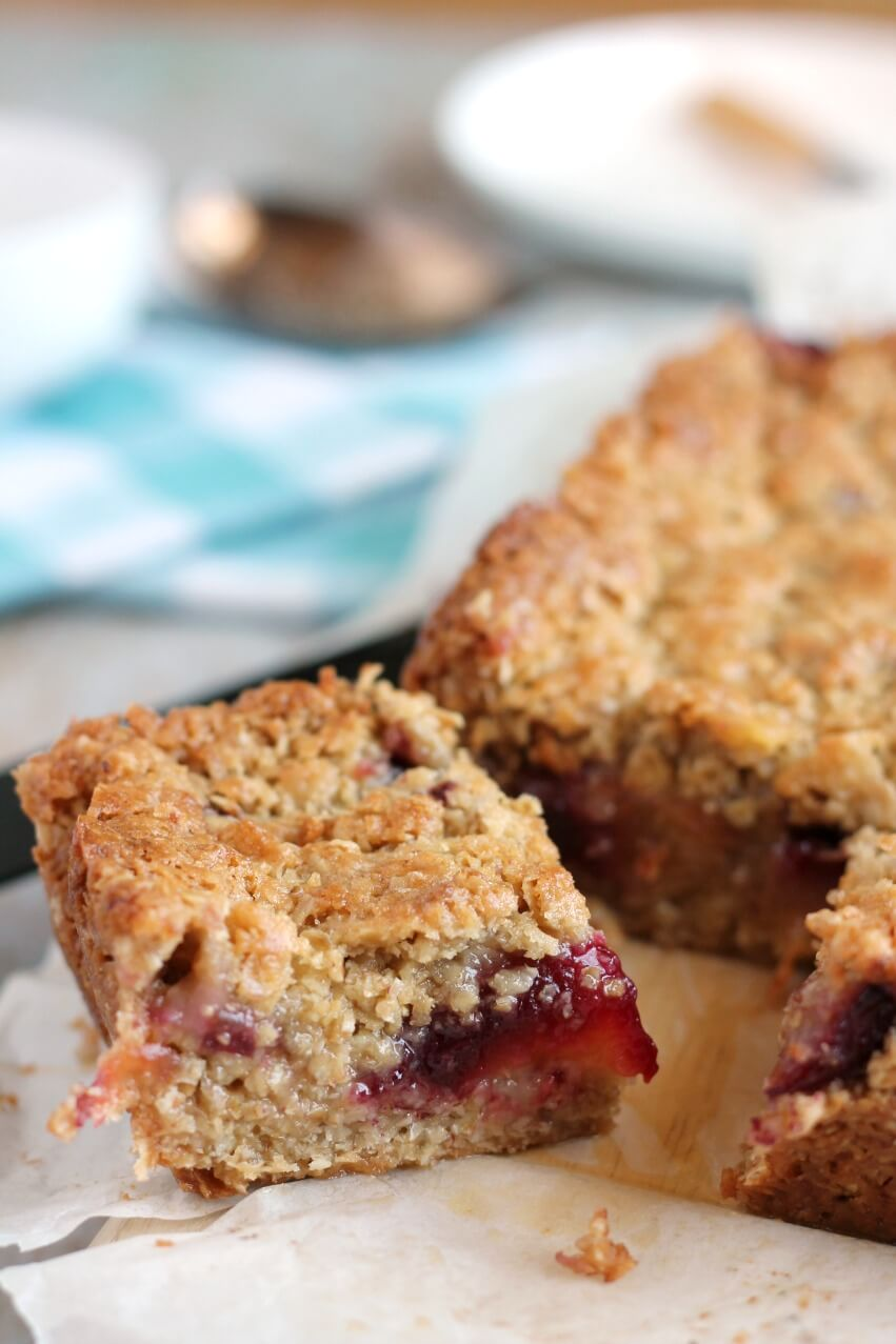 Plum flapjack close up