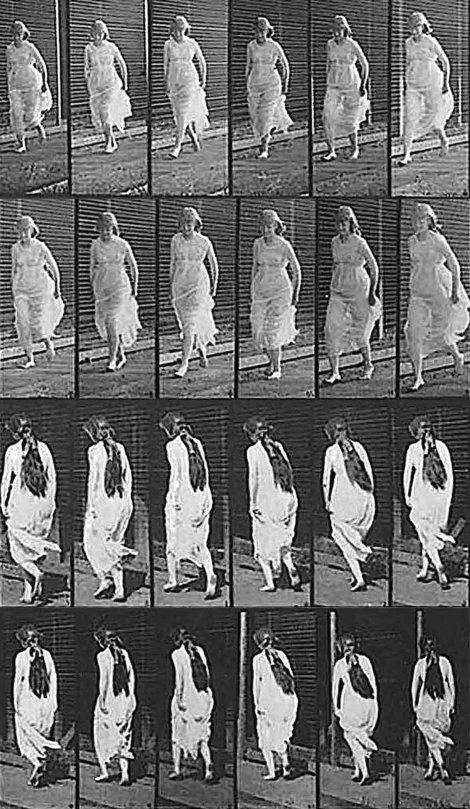 a study of a woman walking by early photographer Eadweard Muybridge