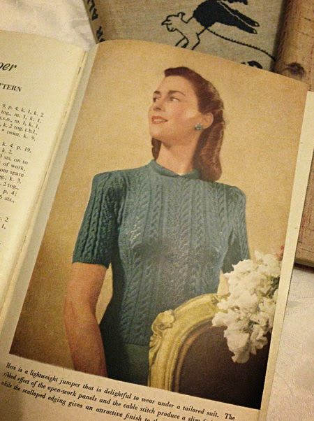 Lightweight, lacy blue jumper from 1940s Odhams book