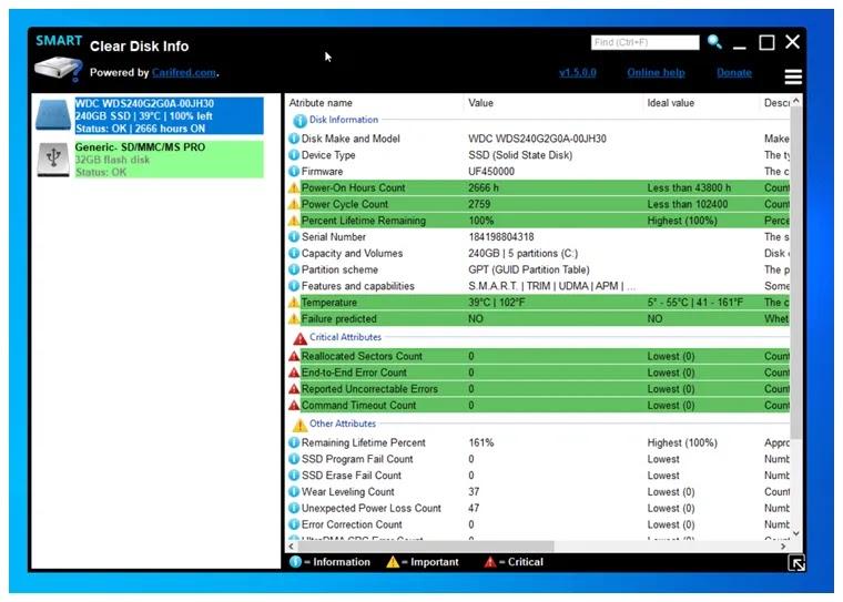 ClearDiskInfo : Αποκτήστε πληροφορίες και δείτε την κατάσταση υγείας των συσκευών αποθήκευσης