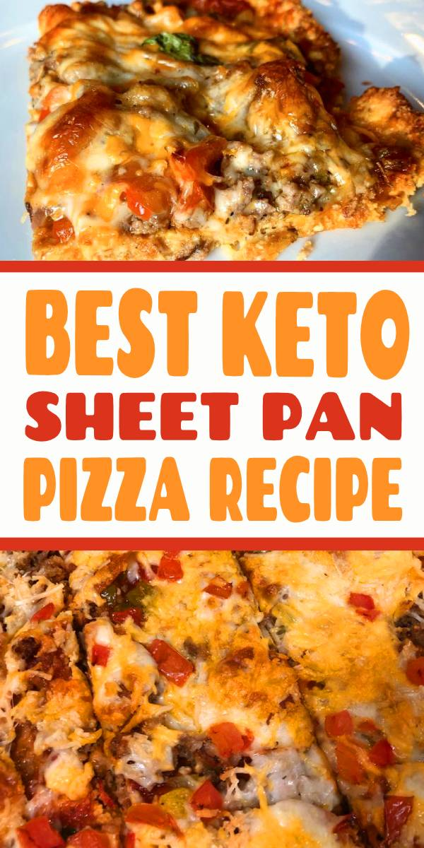 This Best Keto Sheet Pan Pizza has a low carb crust and lots of delicious toppings. #keto #sheetpan #pizza #lowcarb
