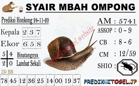 Syair Mbah Ompong HK Selasa 24 November 2020