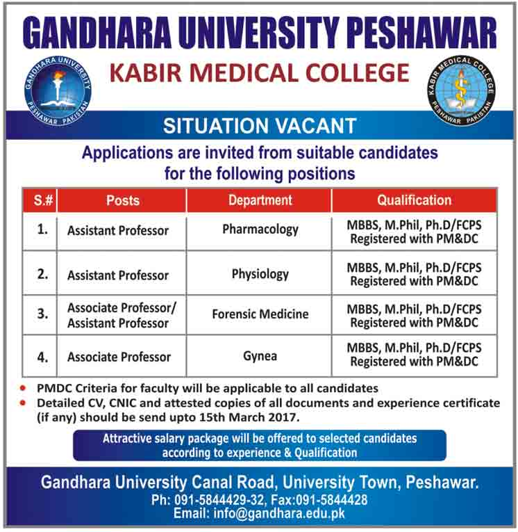 Gandhara University Peshawar Jobs March 2017