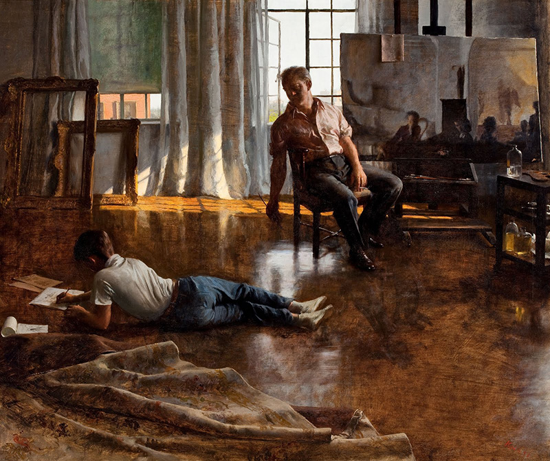 john koch painting of father and son