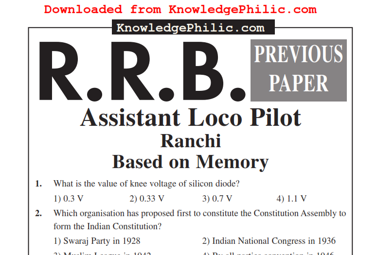 Rrb Technician Solved Papers Pdf