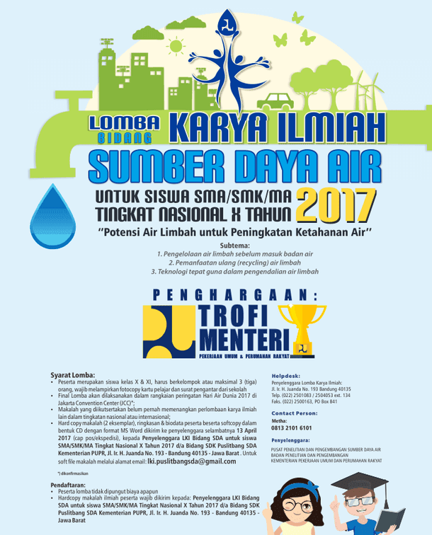 Lomba Karya Ilmiah Bidang Sumber Daya Air Tingkat Nasional untuk Siswa SMK