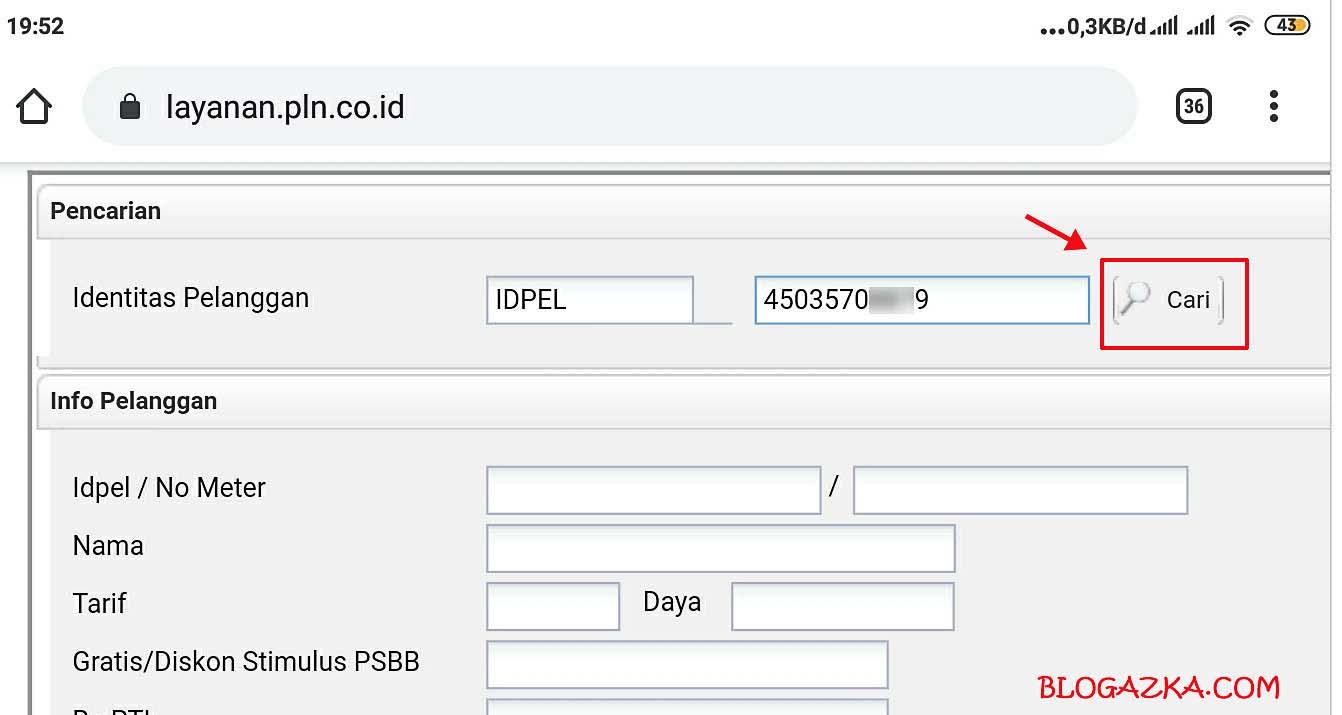 Input ID pelanggan PLN