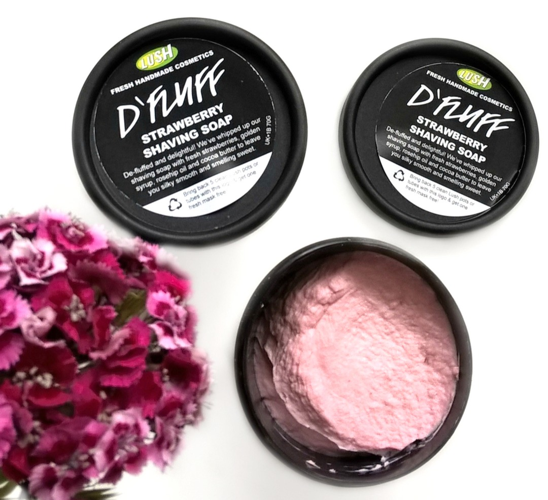 Lush, D`Fluff - Strawberry Shaving Soap blog review