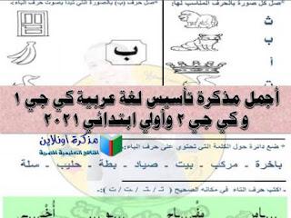مذكرة تأسيس لغة عربية kg1 و kg2 وأولى ابتدائي pdf