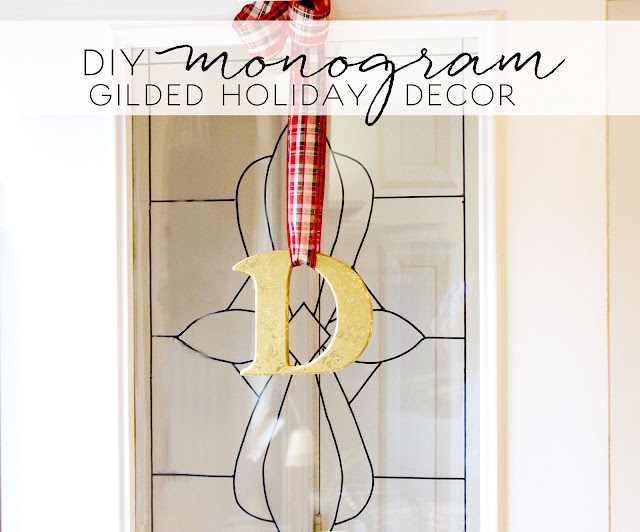 gilded metallic holiday hanging monogram letter
