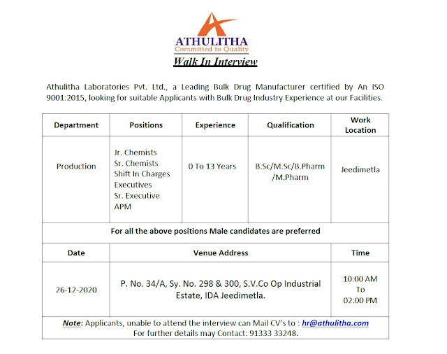 Athulitha Laboratories Pvt Ltd WalkIns for Freshers and Experienced BSc MPharm Candidates on 26th Dec 2020