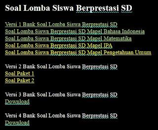 Soal Lomba Siswa Berprestasi SD