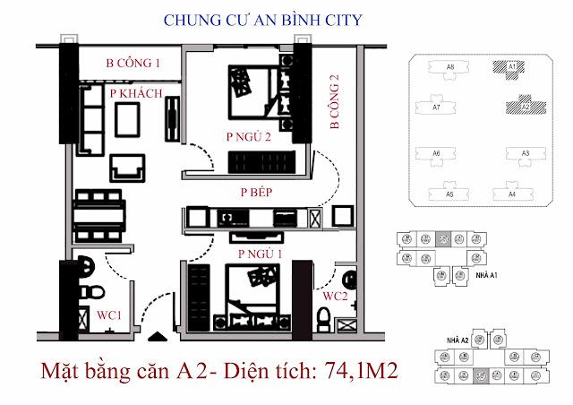 mặt bằng căn hộ A2 - Diện tích 74,1m2