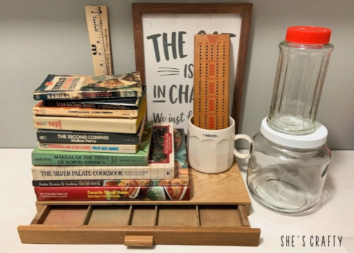 Goodwill thrifting haul - vintage books, glass jars, cash drawer, ruler