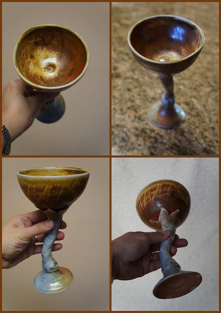 Soda fired handmade ceramic goblet by Lily L.