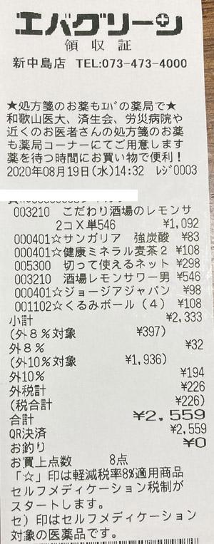 エバグリーン 新中島店 2020/8/19 のレシート