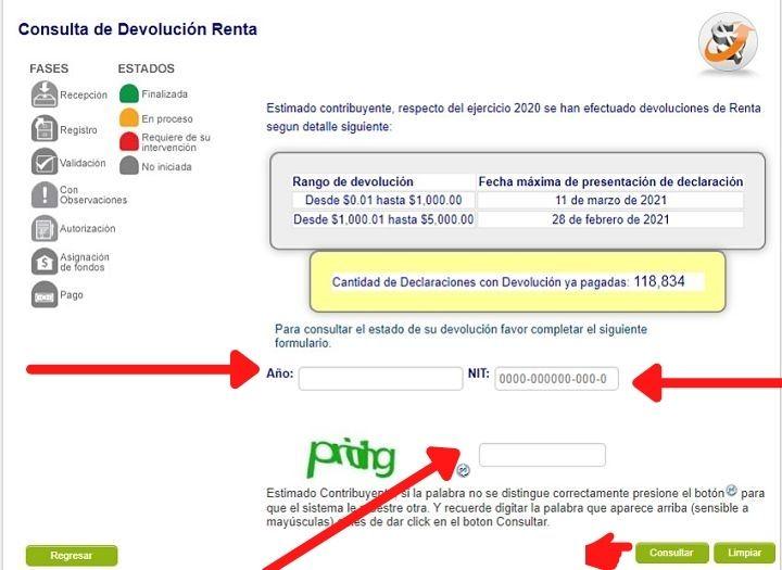 como consultar devolucion de la renta