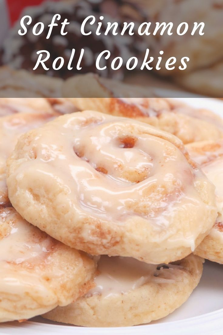 Soft Cinnamon Roll Cookies - A soft sugar cookie reminiscent of a cinnamon roll! Glazed with cream cheese glaze with swirls of cinnamon sugar